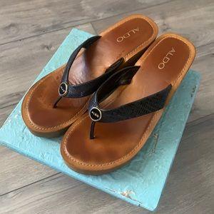 Aldo Black Sandal w Wedge Heel